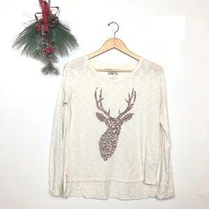 {Bethany Mota} Sequin Reindeer Cream Long Sleeve S